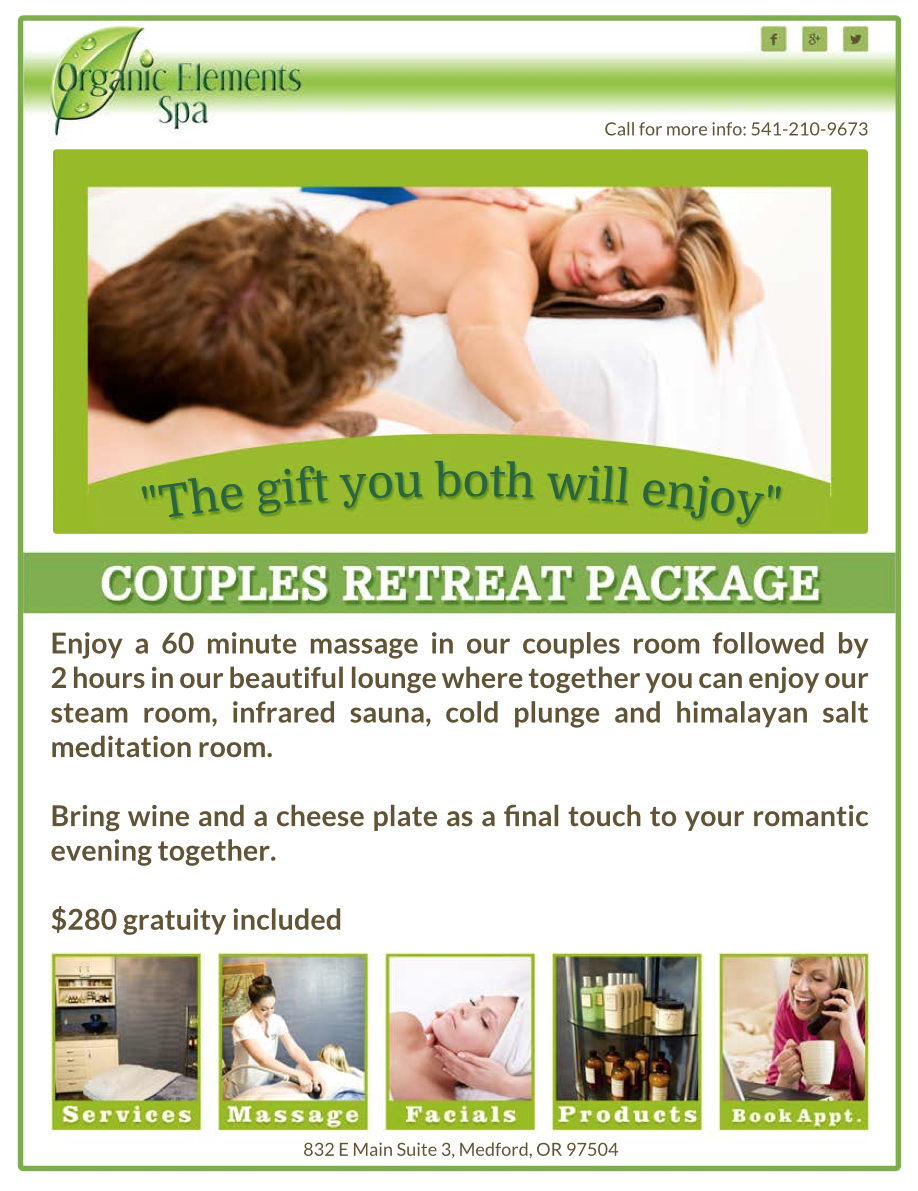 Couples retreat package organic elements spa for Spa vacation packages for couples
